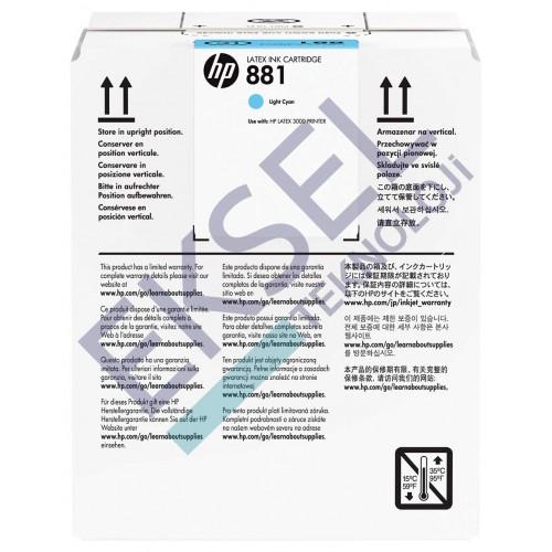 HP 881 5-Ltr Lt Cyan Latex Ink Cartridge